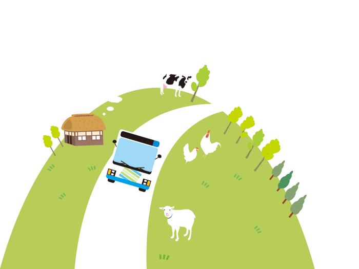 里山をバスが走る